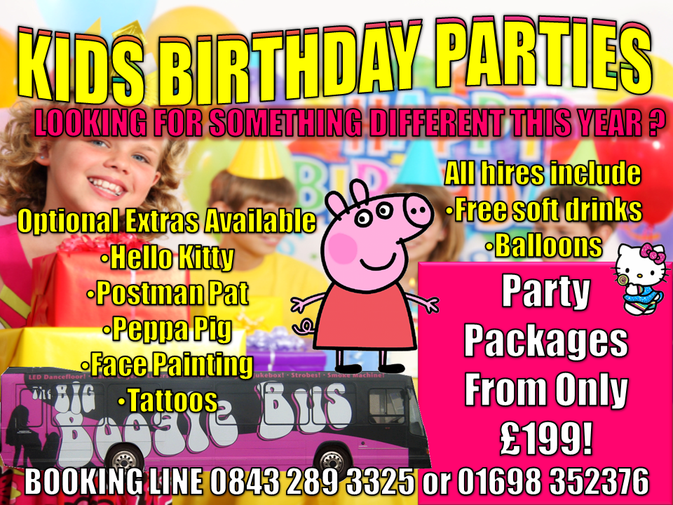 Kids Parties Boogie Bus GlasgowEdinburghAyrshireStirling - Childrens birthday party ideas edinburgh